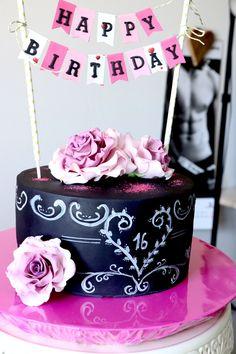 Fondant Torte zum 16ten Chalkboard Torte, Cake Geburtstag. Schokoladen Teig - Kuchen mit Schokoladen- Mascarpone Creme.... Rezept