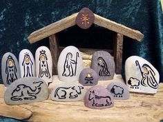 A sand engraved, unique, natural stone Nativity Set to begin or add to your collection. Celebrate every Christmas, Joyously with this Holy Family ensemble. This listing is for a natural stone, engrave Christmas Rock, Christmas Nativity, Christmas Projects, Holiday Crafts, Christmas Ornaments, Stone Crafts, Rock Crafts, Pebble Painting, Pebble Art