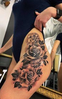 Side Leg Tattoo, Side Piece Tattoos, Girl Side Tattoos, Side Thigh Tattoos, Couple Tattoos, Rose Tattoos For Women, Leg Tattoos Women, Tribal Tattoos, Badass Tattoos