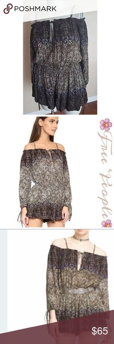 Free People So Divine Off-The-Shoulder Romper Brown and light blue/grey beautiful off the shoulder romper... shorts are lined, elastic waist, removable straps.   Beautiful boho romper great for summer!! Dress up or dress down!! Bought originally for $128, worn once for an event Free People Other