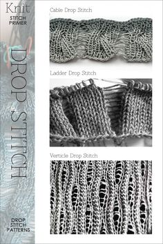knitting dropped stitches - inspiration, stitch tutorials and free patterns featuring the Drop Stitch @ diaryofacreativefanatic Knitting Stiches, Lace Knitting, Crochet Stitches, Stitch Patterns, Knitting Patterns, Crochet Patterns, Techniques Couture, How To Purl Knit, Knit Or Crochet