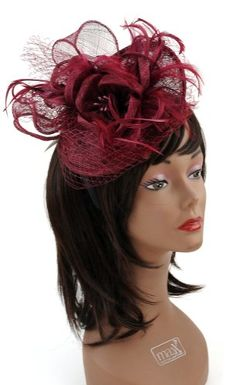 NYfashion101(TM) Cocktail Fashion Sinamay Fascinator Hat Flower Design & Net S102651-Burgundy NYfashion101 |  inspiration for S&S