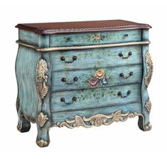 The Stein World Living Room 4 Drawer Hand-Painted Chest with Floral Accent is available in the Goodlettsville, Tennessee, 37072 area from B. Bombay Chest, Decoupage, Hand Painted Furniture, Painting Furniture, French Furniture, Refinished Furniture, Victorian Furniture, Furniture Dolly, Furniture Refinishing