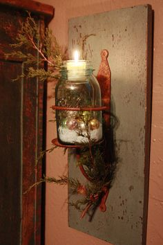 Prim Wooden Board...old mason jar with lighted votive & sprig of pine. Great primitive, county and Early look, that could be changed with the seasons; allowing unique use for vintage and antique mason jars.