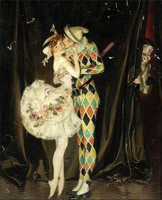 Harlequin and Columbine by Frank Xavier Leyendecker (1876 - 1924)