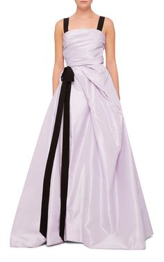 Front Slit Bow Detail Back Cutout Gown by OSCAR DE LA RENTA for Preorder on Moda Operandi