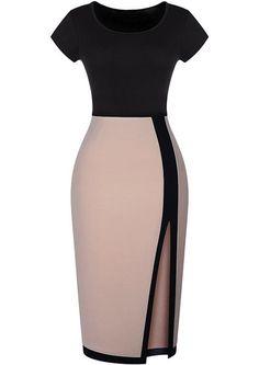 Körpernahes Kleid Kurzarm mit Schlitz, schwarz-aprikosenfarbe 12.90