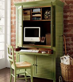 desk armoire. perfect to do for a guest bedroom and office combo since Phil gets to telework from home one day each work week
