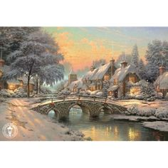 Thomas Kinkade Prints - Cobblestone Christmas by Thomas Kinkade