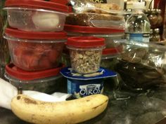 What do you pack in a husband's lunch that works long shifts? ALOT. Boiled eggs, watermelon, greens, banana, greek yogurt & granola, sandwich, grilled salmon, caesar salad, chips, water. A man's heart is in his stomach. ;)