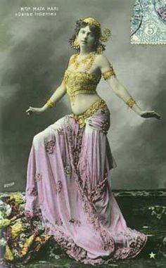 mata hari coloured french postcard