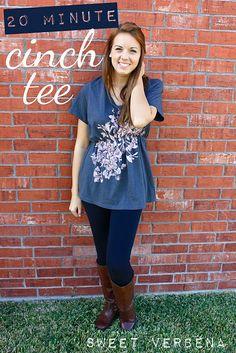 Giving an oversized T-shirt shape. 20 minute Cinch Tee: a tutorial. #diy #fashion