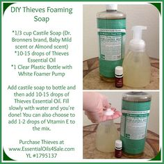 Foaming Hand Soap DIY Thieves foaming hand soap - Soap (disambiguation) Soap is a surfactant cleaning compound used for personal or other cleaning. Soap may also refer to: Thieves Essential Oil, Essential Oils Cleaning, Essential Oil Uses, Doterra Essential Oils, Essential Oil Diffuser, Young Living Oils, Young Living Essential Oils, Young Living Thieves, Natural Cleaning Products
