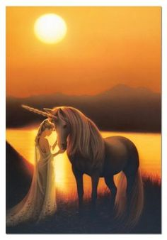 Stopping to pet her beloved unicorn, this fairy princess seems to be enjoying this enchanted evening underneath the moon. Unicorn And Fairies, Unicorn Fantasy, Unicorn Horse, Unicorns And Mermaids, Unicorn Art, Magical Unicorn, Unicorn Painting, Magical Creatures, Fantasy Creatures