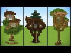 3 Minecraft Starter TREEHOUSE Designs - YouTube