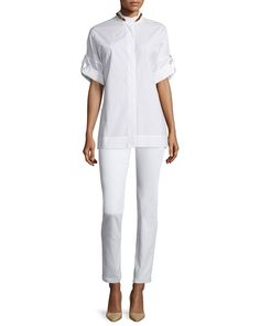Escada Rolled-Sleeve Buckle-Detail Shirt, White