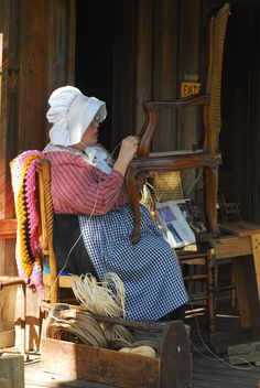 The art of chair caning on the Smith House porch (built 1894) at our living history museum Cracker Country during the Florida State Fair.