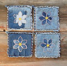 Sturdy blue jean potholders, embellished with an applique daisy in my signature shaggy denim style. Made by hand, each pair is unique. Practical and unique, these fun denim hot pads are an excellent gift, it seems everyone needs new potholders. Large, thick and soft, these are the best potholders ever. I get rave reviews when I give denim potholders as a gift! Made from new denim and/or upcycled blue jeans, they last much longer than the printed cotton ones. Great for use: on the gril...