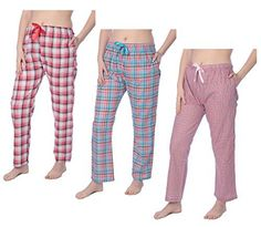 Beverly Rock Womens 100% Cotton Plaid Lounge Pants Available In Plus Size Y17_JLP1 3-Pack 3X