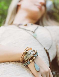 We're crazy for these dreamy new bangles rolling out from Lenny and Eva this Spring. Worn together it's a creative, bohemian look – toss on one or two and it's elegant and vintagy. Love it!