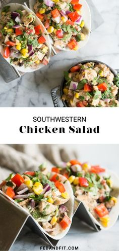 This Southwest Chicken Salad is the perfect spin on traditional chicken salad to spice up your everyday lunch! Chicken is tossed with mayo, lime juice, cilantro, bell peppers, and Mexican spices, then stuffed into jicama tortilla shells for a grain-free, portable, and flavor-packed meal. Tortilla Shells, Southwestern Chicken Salads, Lunch Snacks, Lunches, Healthy Living Recipes, How To Eat Paleo, Chicken And Vegetables, Lime Juice