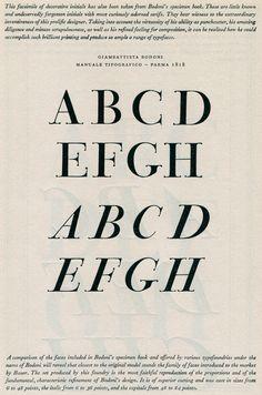 200 year old type specimen by Giambattista Bodoni