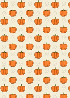 FREE printable pumpkin pattern paper - ^^ | Just draw faces in some of the pumpkins and make Jack O'Lanterns out of them for a unique DIY Halloween gift wrap!