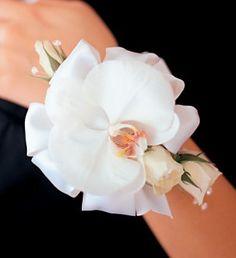 White Orchid and Roses Wristlet in Ellicott City MD, Raimondi's Weddings