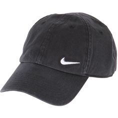 NIKE Swoosh Cotton Baseball Hat - Black ($16) ❤ liked on Polyvore featuring accessories, hats, fillers, black, baseball cap hats, nike, baseball caps, nike hat and cotton hats