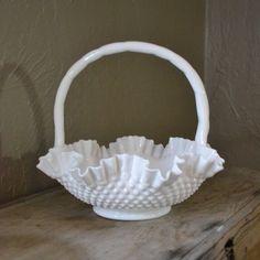 Vintage Fenton Hobnail Milk Glass Basket by silkcreekgallery, $47.50