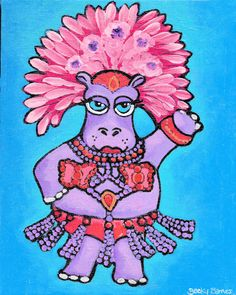 Hey, I found this really awesome Etsy listing at https://www.etsy.com/listing/270918103/carnavale-hippo-8x10-original-painting