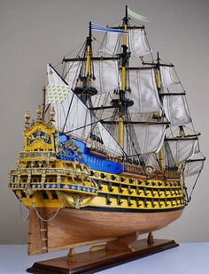 "Soleil Royal 32"" Model Wood SHIP. I usual don't post wooden model that's a whole 'nother craft than plastic. But I like the colors and detail on this one.:"