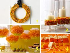 DIY~Cacndy Corn Wreath, Candy corn hurricanes, Candy Corn hanging poms, Candy corn treat bags! Lots of other Halloween ideas here!
