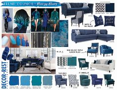 Decor-Rest Trend Council - Breezy Blues. You'll be seeing a lot of these colours this winter at MJM Furniture. #mjmfurniture #decorrest #blue #navy #teal #turquoise #royal #shadesofblue #trend #furniture #home #decor #design #homedecor #interiordesign #sofas #sectionals #madeincanada #vancouver #vancity #winter2016 #upholstery