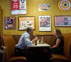 The President taking Rebekah Erler to Matt's Bar in Minneapolis Minnesota after the mother of two wrote a letter to him about economic difficulties