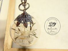 Halskette - ECHTE Pusteblume - silberfarben von Mademoiselle Claire - Nostalgieschmuck auf DaWanda.com