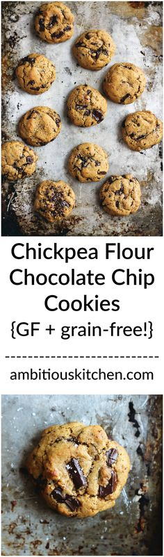 Chickpea Flour Chocolate Chip Cookies are addicting in the best way. They're dairy free, gluten free, grain free and may just be the best gluten free cookies ever. Best Gluten Free Cookie Recipe, Gluten Free Baking, Gluten Free Desserts, Healthy Cookies, Healthy Desserts, Chickpea Cookies, Sweet Desserts, Sin Gluten, Grain Free