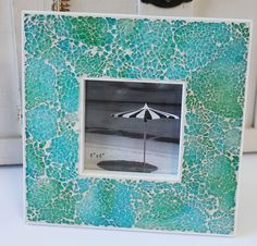Blue & Green Glass Mosaic 4x4 Picture Frame - Beach Cottage Home Decor - California Seashell Company