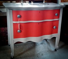 Fabulous Coral and Gray Two Drawer Chest on Wheels in Lynn, MA, USA ~ Krrb