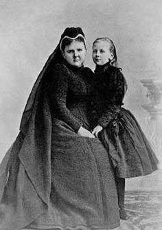 Dutch Regent Emma and princess Wilhelmina in mourning for King Willem III, 1891. photographer Adolphe Zimmermans.