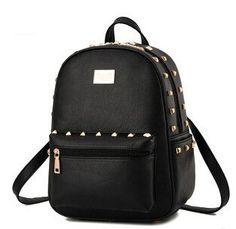New Design Brand Fashion Black Leather Backpack Women Rivet School Bag Girl Ladies Casual Small Backpacks Kid Mochilas Bagpack