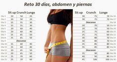 Entrenamiento personal, entrenamiento funcional.: Reto 30 días, abdomen y piernas