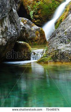 Beautiful waterfall on the highest mountain in Greece, Mount Olympus. - stock photo