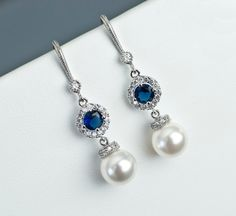 Bridal Earrings Bridal Pearl and Blue Sapphire by CrinaDesign73