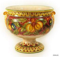 FRUTTA FONDO ROSSO: Large round Coppa footed cup centerpiece[#1442-FFR]