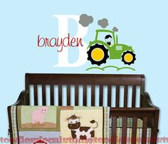 Green Tractor Name Personalized Nursery Kids Vinyl Wall Decal Sticker