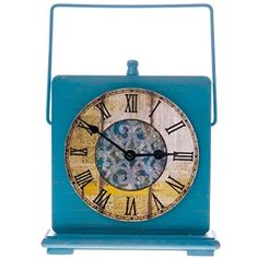 Our vintage-inspired Blue Wooden Clock brings a splash of vibrant color and a dash of antique charm to your home decor.