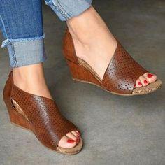 OFF Wedge Sandals Slippers 723 - gifthershoes Wedge Heels, Pumps Heels, Strappy Heels, High Heels, Wedge Sneakers, Casual Heels, Comfy Heels, Open Toe Sandals, Women's Sandals
