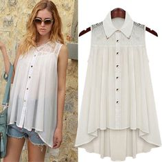 European Fashion Lace Chiffon Loose Sleeveless Blouse
