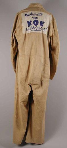 Sanfor, XXXL overall  'natuurlijk van Kok Vakkleding!' ('of course by Kok working clothes!') , ca. 1955, Museum Rotterdam. #werkstijl #workwear #modemuze #museumrotterdam